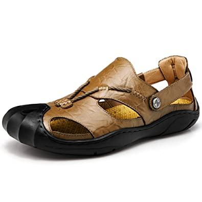 0657f8a81871 Orlasha Mens Sports Sandals Leather Fisherman Sandals Closed Toe Summer Outdoor  Beach Shoes Water Slippers Khaki