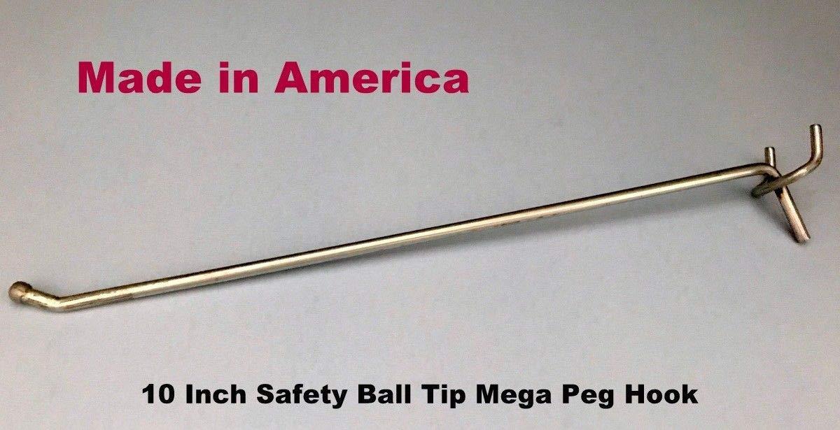 (10 PACK) USA Made 10 Inch Mega Peg Hooks For 1/8'' to 1/4'' Pegboard or Slatwall