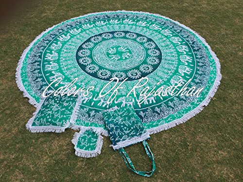 Colors Of Rajasthan COR's Green Ombray Mandala Tapestry Hippie Round Roundie Wall Hanging Beach Towel Throw Yoga Mat Round Tapestry 82