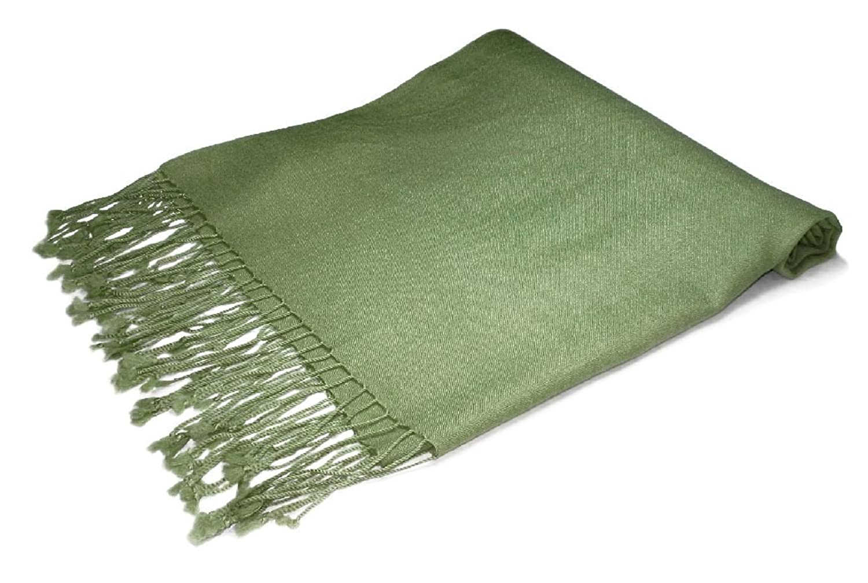100% Pashmina Olive Green Shawl Wrap. Woman's Scarf. at Amazon ...