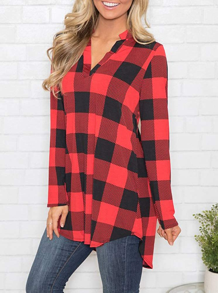 1d83b07c PINKMILLY Women Casual Long Sleeve Plaid Tunic Shirt V Neck Pullover Blouse  Tops