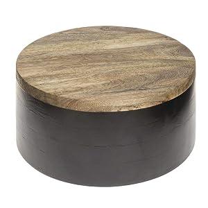 HUBERT Round Black Mango Wood Riser - 12