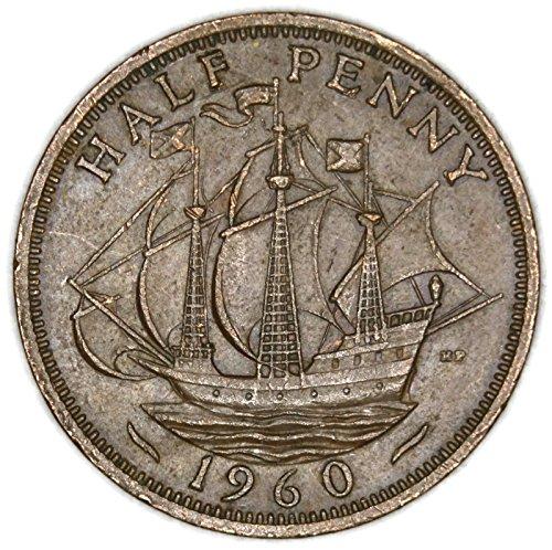 1960 UK Elizabeth II British Bronze Half Penny Very Good