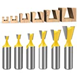 Meihejia 1/2 Inch Shank Dovetail Router Bit Set - 6 Sizes