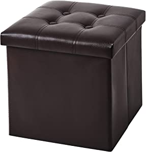 YOUDENOVA 15 inches Folding Storage Ottoman, Cube Storage Boxes Footrest Stool, Small Ottomans with Foam Padded Seat, Support 350lbs, Faux Leather Brown