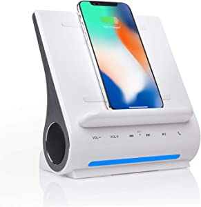 Azpen Dockall D108 - Qi Wireless Fast Charging Docking Station with Upgraded Bluetooth Speaker System White Color, Glossy White