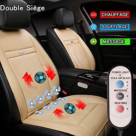 LifeUp Coussin de Siège Chauffant Voiture Coussin de Massage Électrique 12V Housse de Siège Fraîche Respirant Confortable Intelligent pour Protection