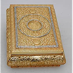 Islamic Muslim metal gold Quran Box with rhinestone/ Home decorative # 1659