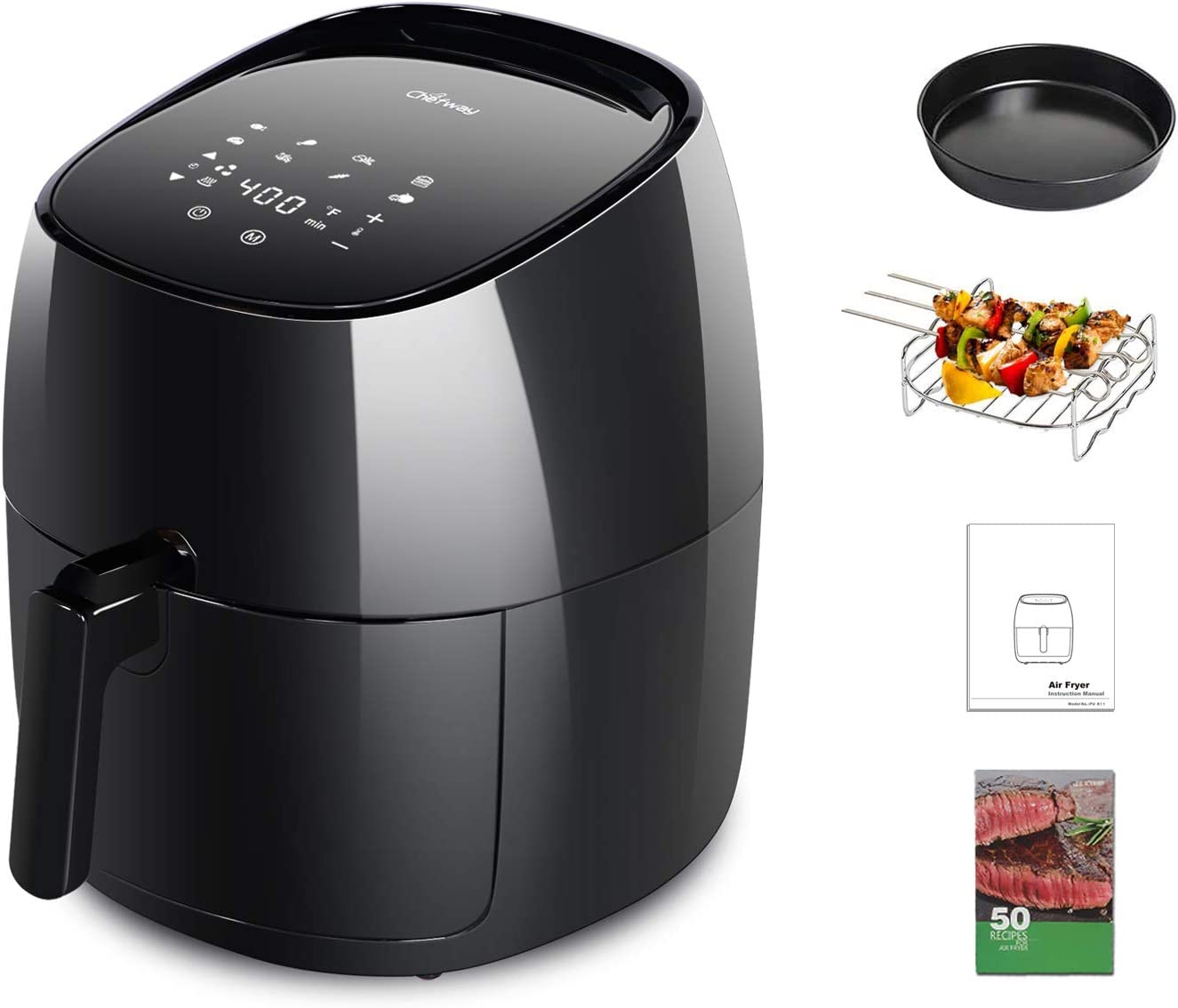 Chefway Air Fryer, 7.5 Quart Electric Hot Air Fryers Oven Oilless Cooker with LCD Digital Screen and Nonstick Frying Pot,1700W 8 in 1 Large Fast Hot Oven & Oiless Cooker,Fry/Roast/Bake/Dehydrate,50 Recipe Cookbook, Black