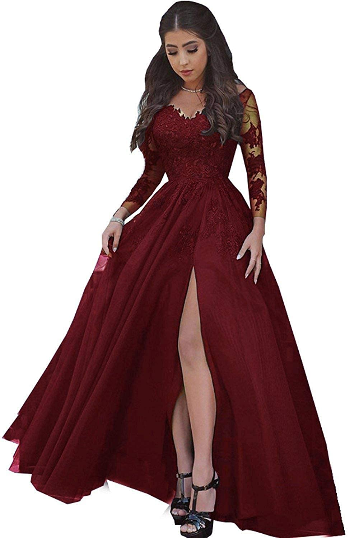 0e41e647 Burgundy Lace Long Sleeve Prom Dress - raveitsafe