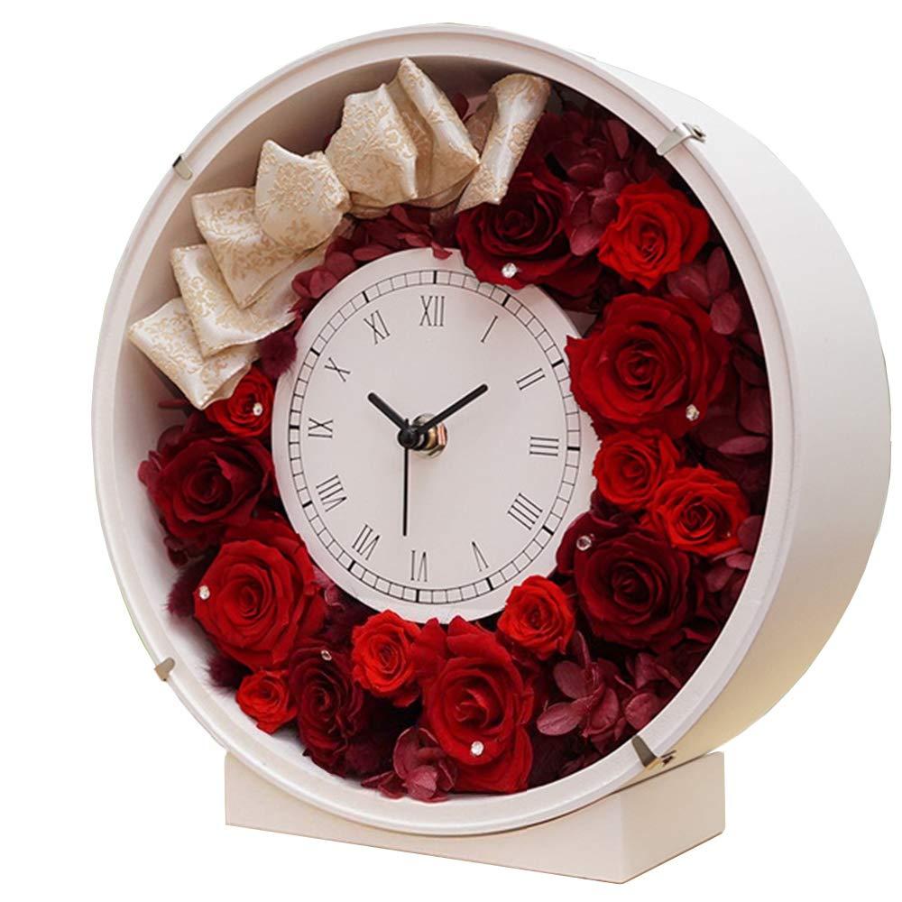プリザーブドフラワーの花時計 サンクスフラワークロック(丸型 レッドローズ)刻印なし   B075XK9DLB