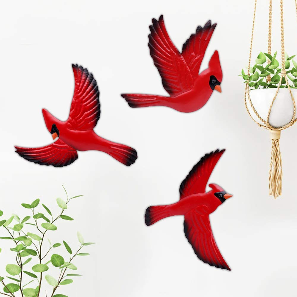 Cardinal Wall Decor Metal Decorative Unique Memorial Gifts Christmas Exquisite Red Color Birds Living Room House Courtyard Decoration Ornament 3 Pack Different Shapes With Hook