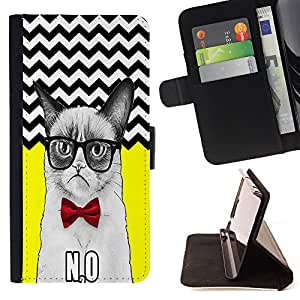 Pattern Queen - Chevron Grumpy Cat - FOR Samsung Galaxy S6 - Hard Case Cover Shell