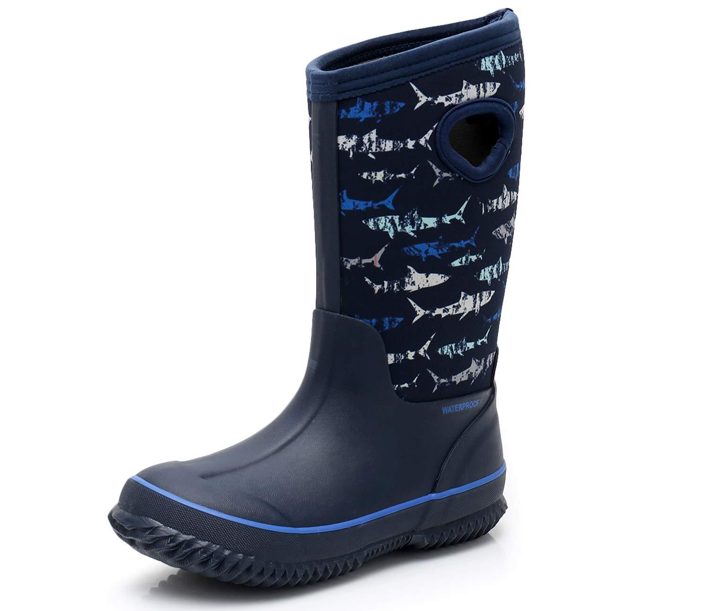 SOLARRAIN Boys' Neoprene Rubber Waterproof Sharks Snow Boots for Kids Winter Warm Lightweight Outdoor Durable Rain Boots (Little Kid 5M US, Sharks)
