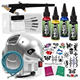 PointZero Complete Temporary Tattoo Airbrush Set - 4 Color 20 Stencil Kit
