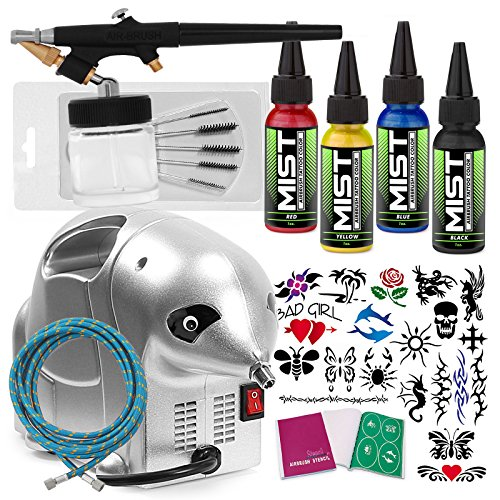 PointZero Complete Temporary Tattoo Airbrush Set – 4 Color 20 Stencil Kit