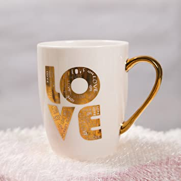 BonZeaL Love Printed Cup Ceramic Coffee Mugs Tea Cups Birthday Gifts For Girlfriend Boyfriend Husband Wife