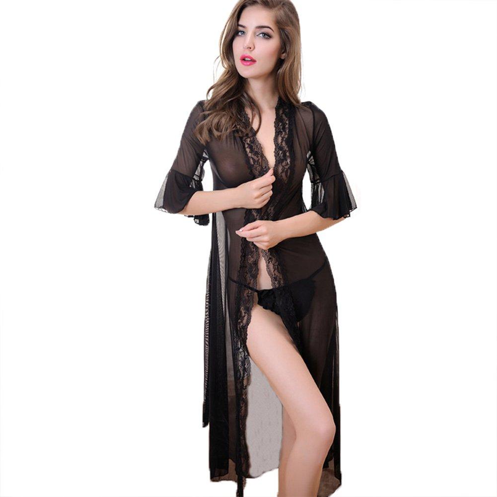 Women's Sexy Lingerie Kimono Robe Set Sheer Lace Babydoll Long Gown Rose Bra and Panty Sleepwear Black