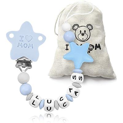 RUBY - Chupetero personalizado para bebe con nombre bola silicona antibacteria con pinza acero inoxidable Chuptero Estrella (Azul)