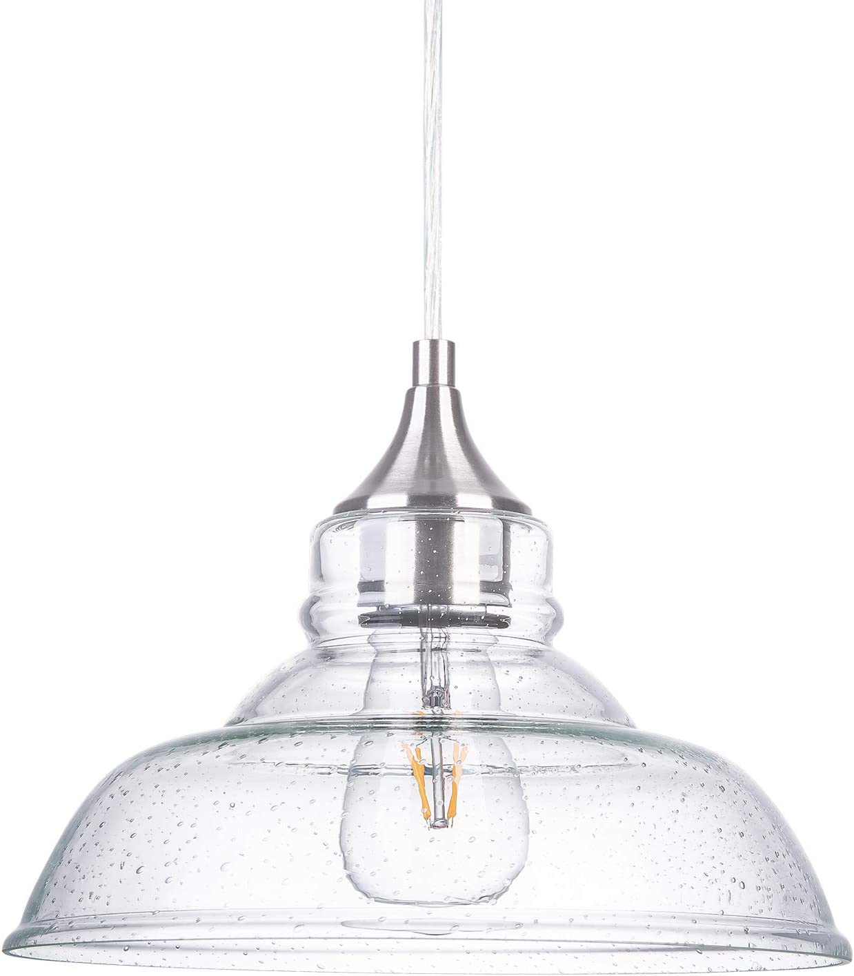 NALATI 1-Light Industrial Pendant Light with Clear Seeded Glass Edison Vintage Hanging Light