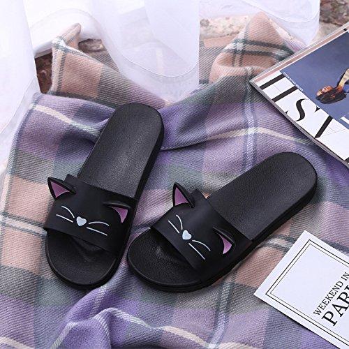 Doccia Estate Gattino Hong Orecchie black Cartone Coperta Tridimensionali Carino Bagno Casa Jia Ed E 37 Sandali Primavera Black 39 Animato Coppia Ciabatte 6pYTpq