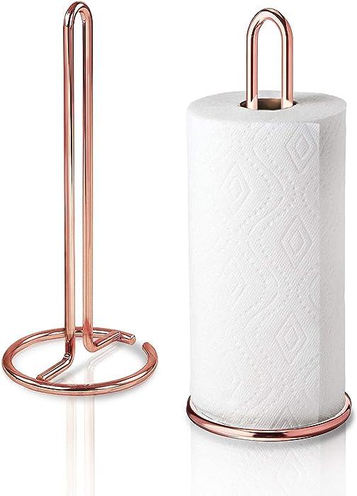 Kontactic Rose Gold Paper Towel Holder Countertop | Kitchen Towel Holders | Stainless Steel Paper Towel Holders | Copper Paper Towel Holder for Kitchen | Kitchen Paper Towel Holder Stainless Steel
