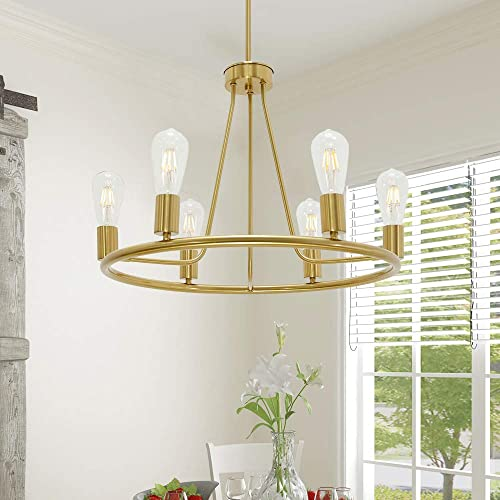 BONLICHT Modern 6 Light Farmhouse Chandelier Wagon Wheel Brushed Brass Dining Room Light Fixture Hanging Round Kitchen Island Pendant Lighting Industrial Gold Metal Ceiling Light