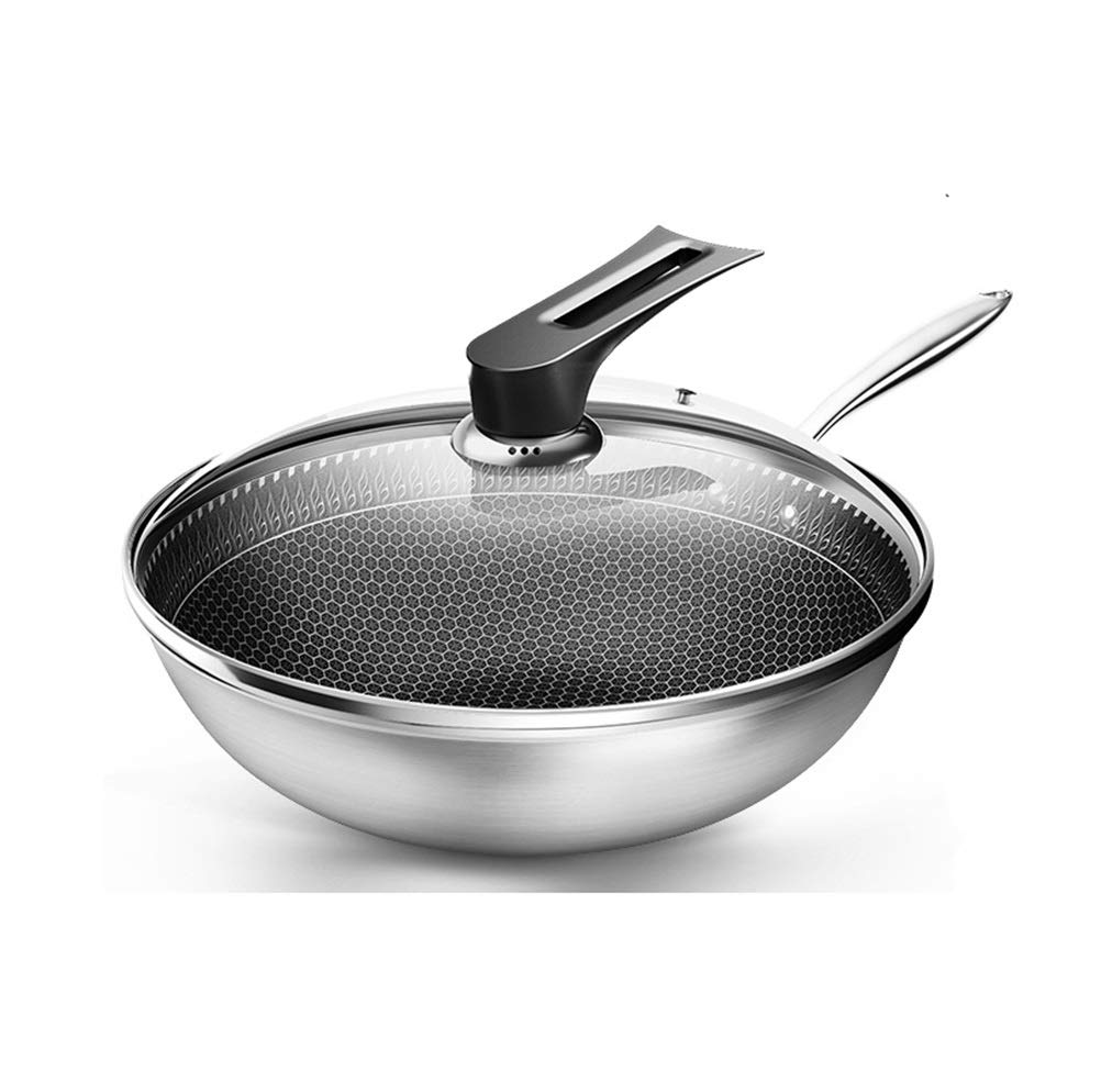 WYQSZ Wok - Wok Home Non-stick Pan Uncoated Multi-purpose Wok Smokeless Durable Wok -fry pan 2365 by WYQSZ (Image #1)