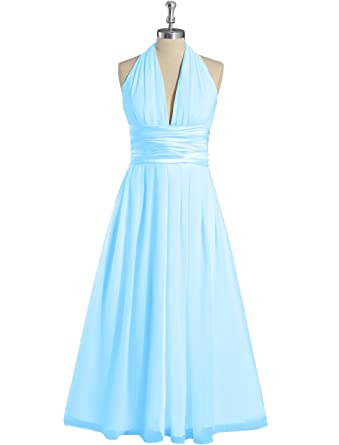 Xcici V-Neck Prom Dress Tea Length Bridesmaid Dress Halter Party Gown Aqua US2