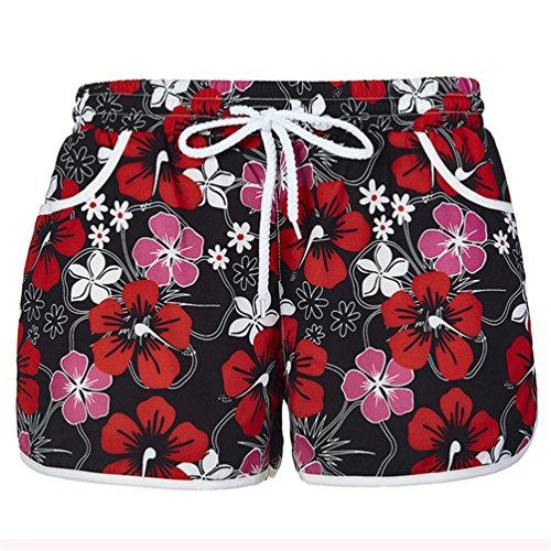 Womens Causal Board Shorts Tankini Swim Briefs Bottom Sports Beachrider S Red