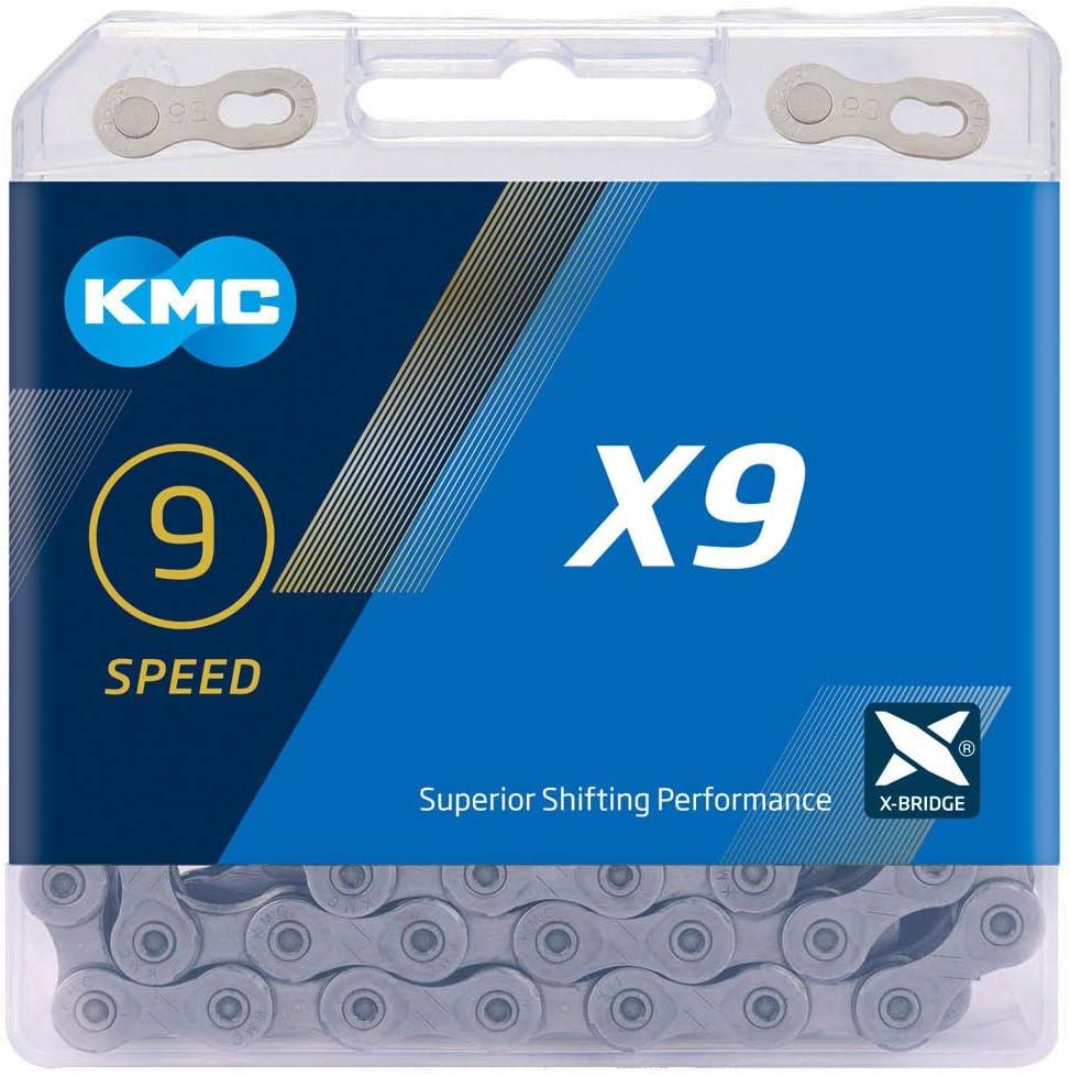 Cadena Kmc X9 114 Eslabones 9V. Gris: Amazon.es: Deportes y aire libre