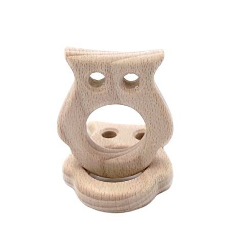 Coskiss 2pcs Mordedor madera hechos a mano del colgante del buho ...