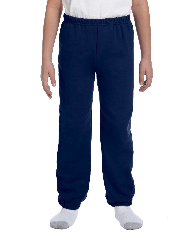 Gildan Boys 7.75 oz. Heavy Blend? 50/50 Sweatpants (G182B) -NAVY -L-12PK
