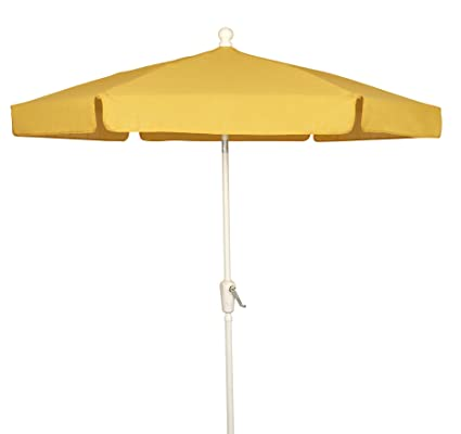 FiberBuilt Umbrellas Garden Umbrella, 7.5 Foot Yellow Canopy And White Pole