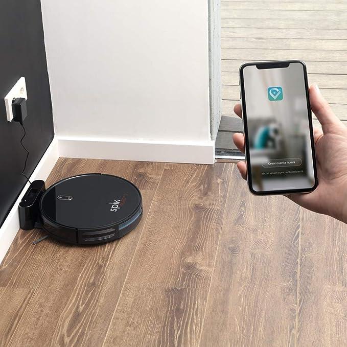 Spik   Robot Aspirador y Fregasuelos 4 en 1 con Control Remoto Compatible con Asistentes Virtuales: Amazon.es: Hogar