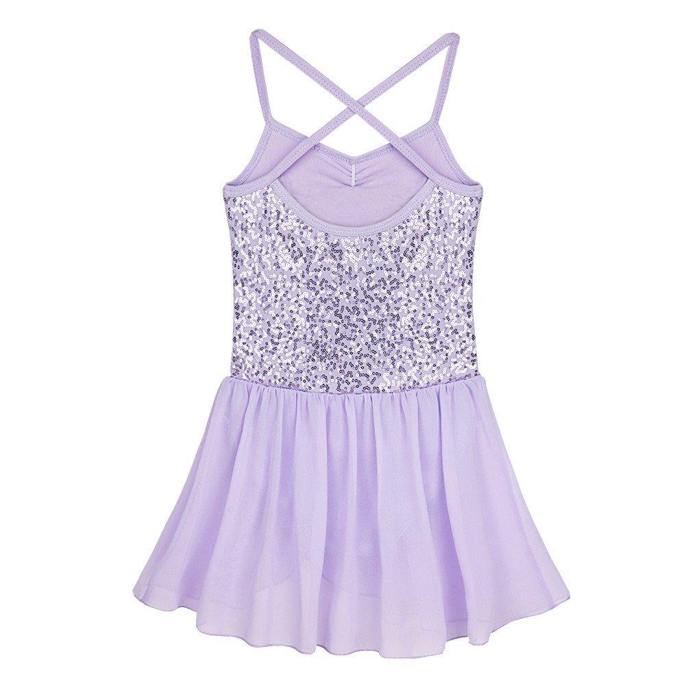 YiZYiF Kids Girls Sequined Camisole Ballet Dress Chiffon Dance Leotard