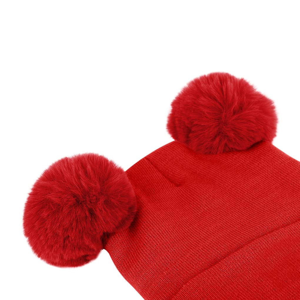 Baby Knit Hat Scarf Set Toddler Girls Boys Winter Pom Pom Beanie Cap Neck Warmer