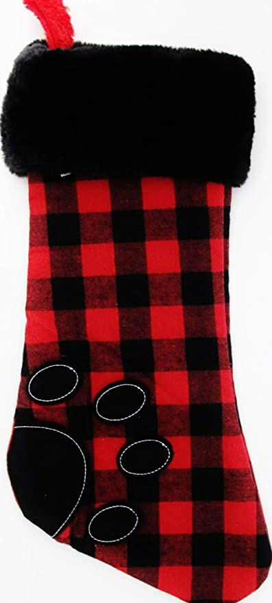 881cc352 Amazon.com: Christmas Stocking Pet Buffalo Plaid Red/Black Check Paw ...