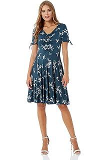 8767e627ca78 Roman Originals Women Floral V-Neck Short Sleeve Fit and Flare V Neck Knee  Length Dress Ladies Summer Spring Party…
