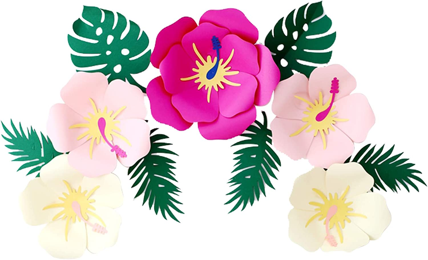 Luau Hawaiian Hibiscus Paper Flowers Tropical Leaves Party Decorations Paper Artificial Flower for Mexican Moana Hawaiian Party Decoration Aloha Tiki Party Backdrop Wall Decor Photo Props
