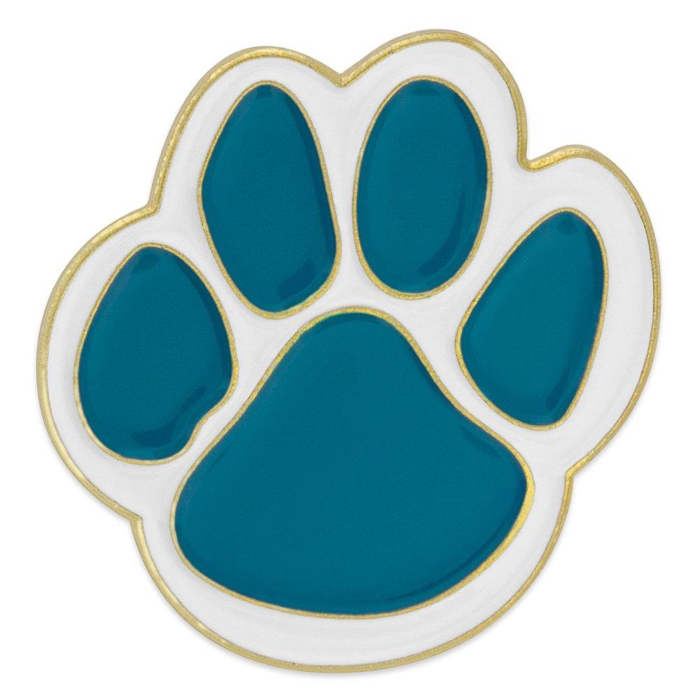 PinMart's Teal and White Animal Paw Print School Mascot Enamel Lapel Pin