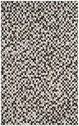 Safavieh STL405A-4 Studio Collection Grey and Black Leather Area Rug, 4' x 6',