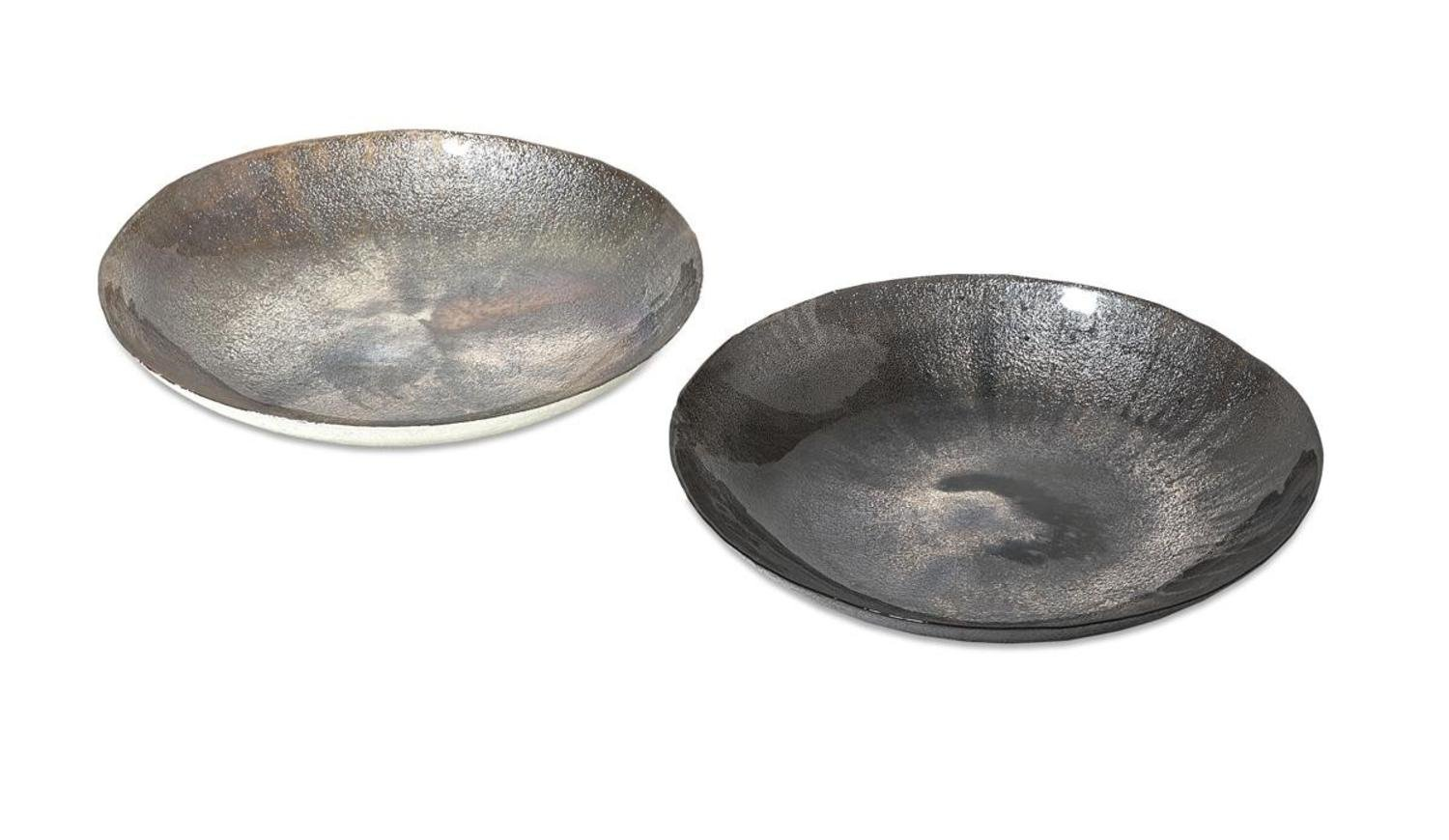 """Set of 2 Silver Grey and Black Pearly Glass Decorative Charger 15.75"""""""