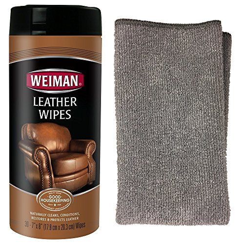 Weiman Leather Cleaning Kit Leather Wipes (30 Count) - with Microfiber Cloth - Clean and Condition Car Seats, Shoes, Couches and More