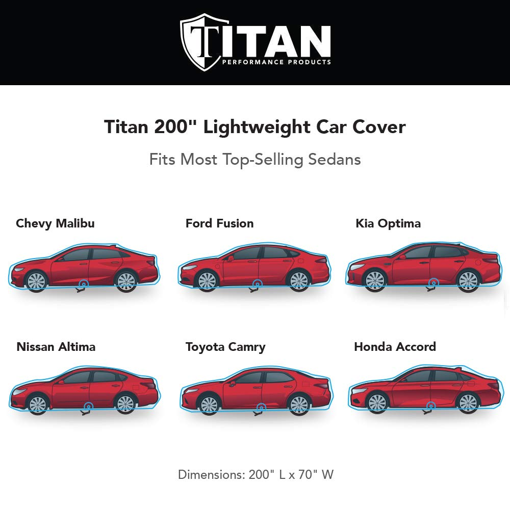 Measures 200 Inches and Features a Driver-Side Zippered Opening For Easy Access Newquest Brands 4347628465 Comes with 7 Foot Cable and Lock Titan Lightweight Car Cover Outdoor Waterproof Cover For Toyota Camry and More