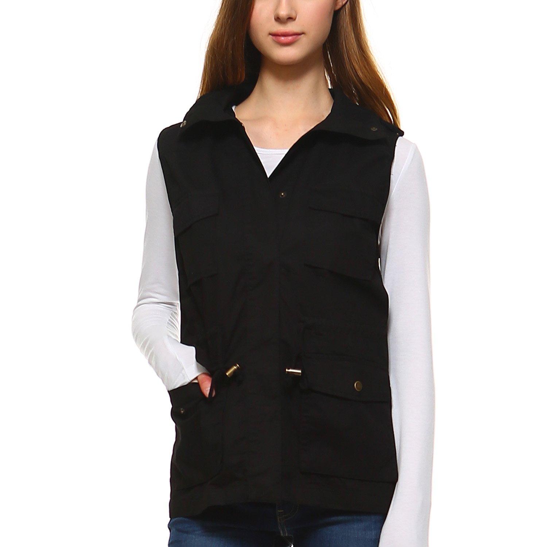 Fashionazzle LT Women's Lightweight Sleeveless Military Anorak Utility Jacket Vest (Medium, MJV01-Black)