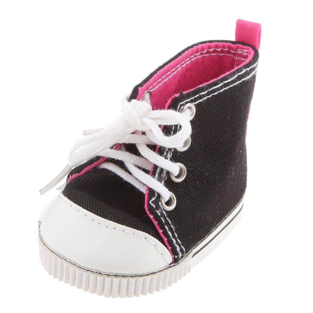 1 Paire De Chaussures De Toile De Dentelle Noire De Haut Pour Poupées 18 Pouces