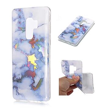 Funda Samsung S9 Plus Silicona mármol TPU Super Delgado Suave Carcasa de telefono Protección por JOYTAG-Azul