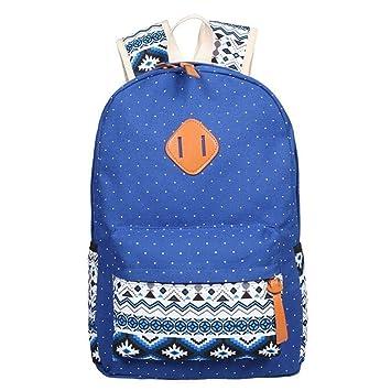 Lounayy Hombres Mochila Niñas Niños Mochila Mochila Escolar Hombro Mochila De Lona Mochila Escolar Crossbody Tote + Bolsa Embrague + (Color : Blau, ...