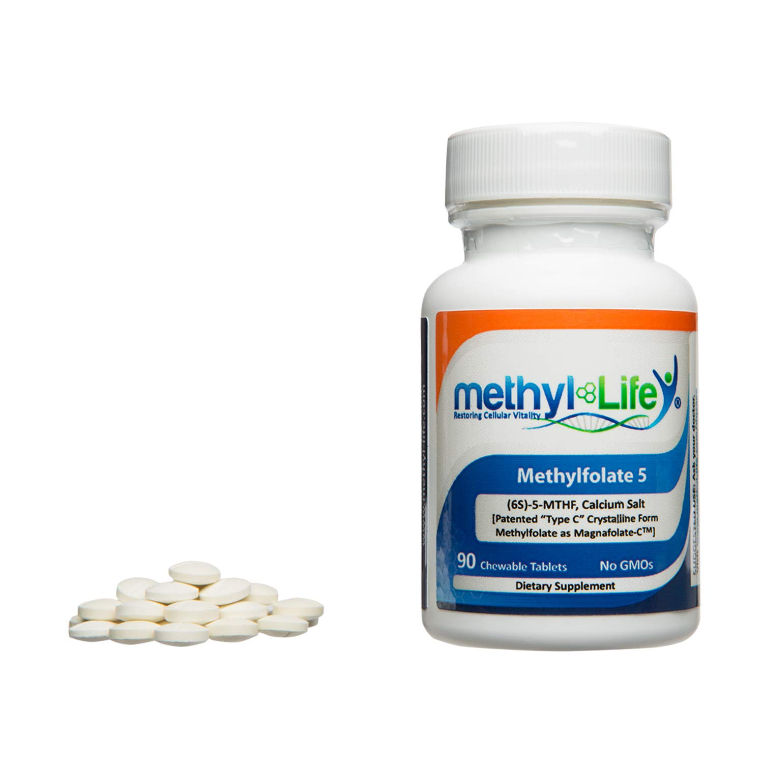 L-Methylfolate 5 - (6S)-5-MTHF, Calcium Salt (5,000 mcg per Tablet) - [90 Non-GMO, Chewable Tablets] by Methyl-Life Supplements